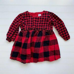 Baby Gap Red Black Buffalo Check Long Sleeve Dress